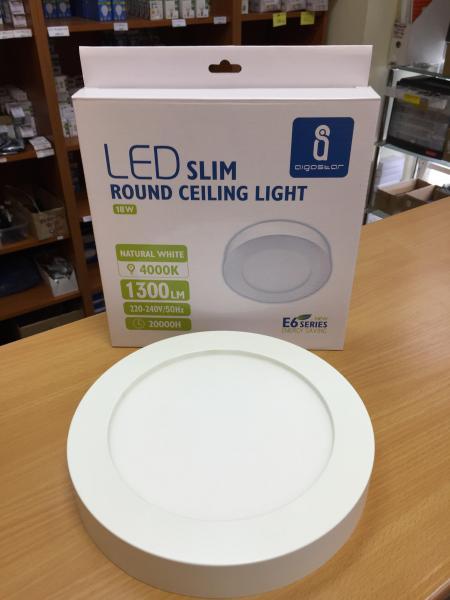 18W LED mennyezeti lámpa falon kívüli kerek természetes fehér