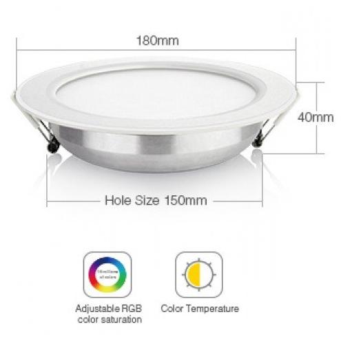 15W Süllyeszthető Cseppálló okos LED panel RGBCCT, állítható fehér színárnyalatok, színes, dimmelhető, bluetooth
