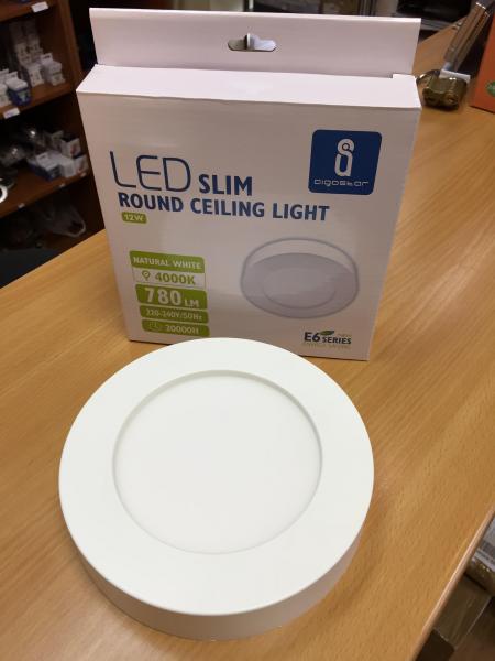 12W LED mennyezeti lámpa falon kívüli kerek meleg fehér