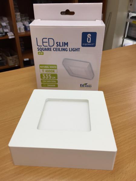 6W LED mennyezeti lámpa falon kívüli négyzet meleg fehér