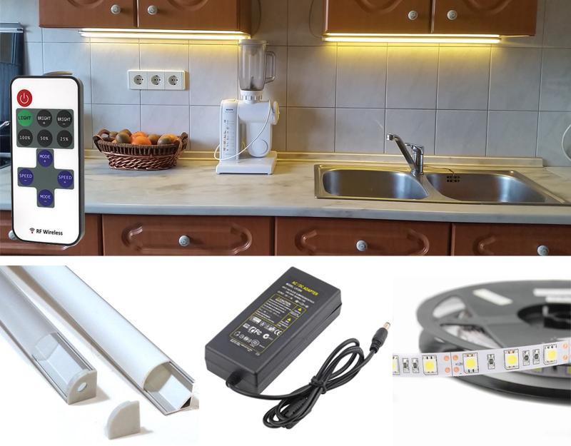 2m-es Konyhapultvilágítás Sarok Profil Csomag Extra Erős Meleg Fehér LED szalaggal