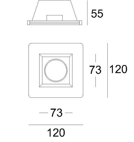 Mennyezetbe süllyeszthető 125x125mm négyzet festhető GIPSZ LED lámpatest MR16 és GU10 LED spothoz