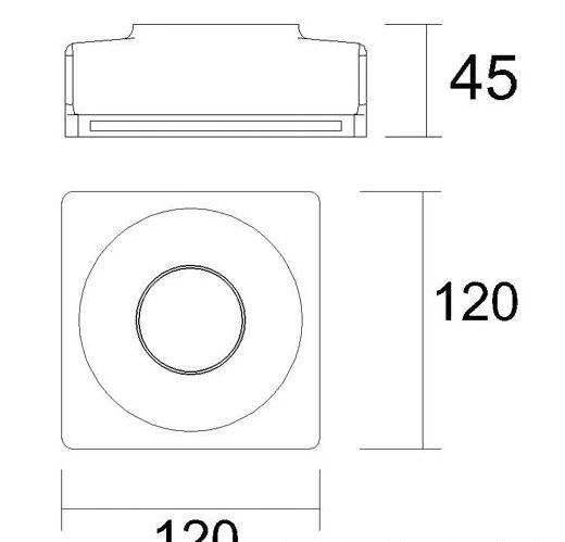 Mennyezetbe süllyeszthető 120x120mm négyzet festhető tölcsér GIPSZ LED lámpatest MR16 és GU10 LED spothoz