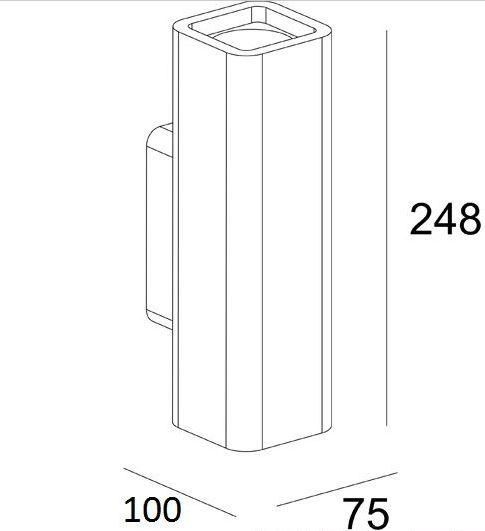 Felszerelhető gipsz fali lámpa, UP&Down 2xGU10, szögletes