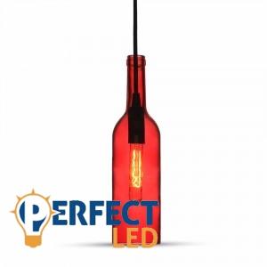 Vintage üveg, piros E14 függeszték