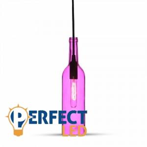 Vintage üveg, rózsaszín E14 függeszték
