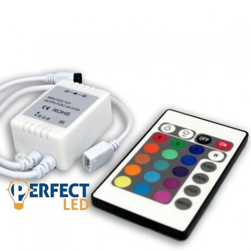 RGB LED szalag vezérlõ 24 gombos infrás távirányítóval 72W
