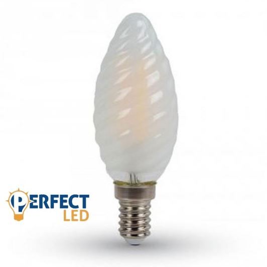 4W E14 LED filament tekert gyertya égő meleg fehér