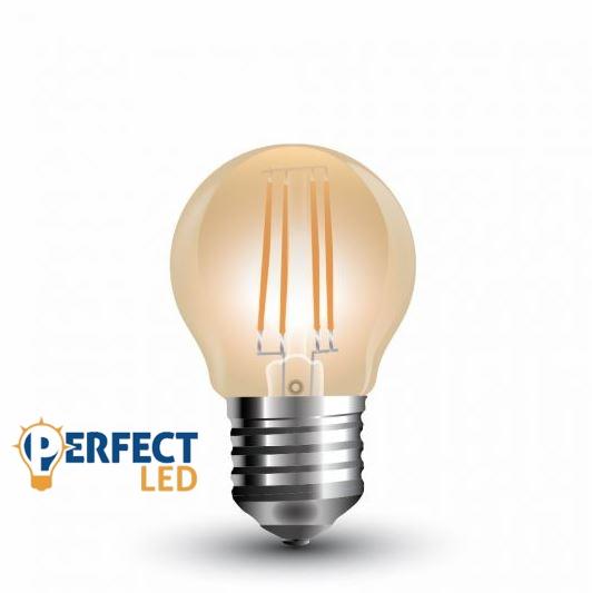 E27 4W LED kisgömb égő meleg fehér borostyán