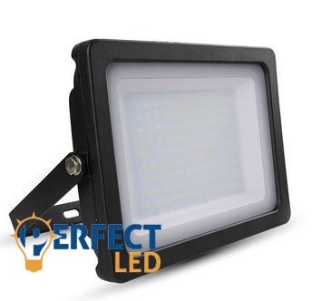 100W fekete prémium vékony házas LED reflektor természetes fehér