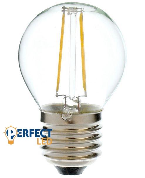 2W E27 LED kisgömb izzó, égő COG szálas meleg fehér