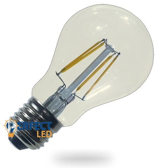 4W E27 LED gömb izzó, égő COG szálas meleg fehér