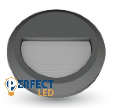 2W LED lépcsővilágító lámpa kerek fekete