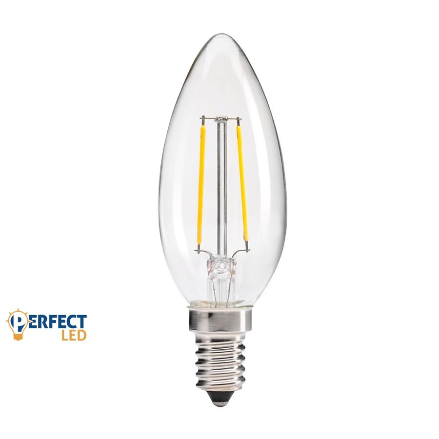 2W E14 COG szálas LED gyertya izzó, égő meleg fehér
