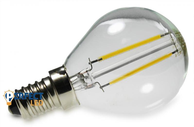 2W E14 COG szálas LED kisgömb izzó, égő meleg fehér