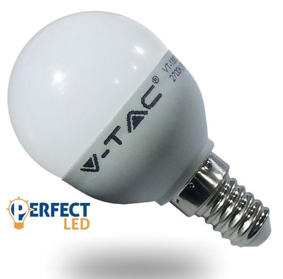 E14 6W LED kisgömb izzó, égő meleg fehér