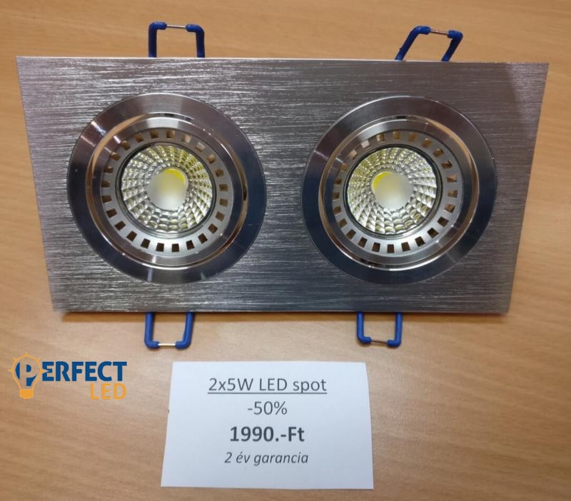 AKCIÓ 2x5W-os Dupla LED Spot Égő Kerettel -50%