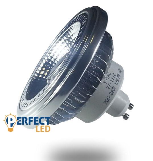 12W GU10 LED égő AR111 fejjel, meleg fehér