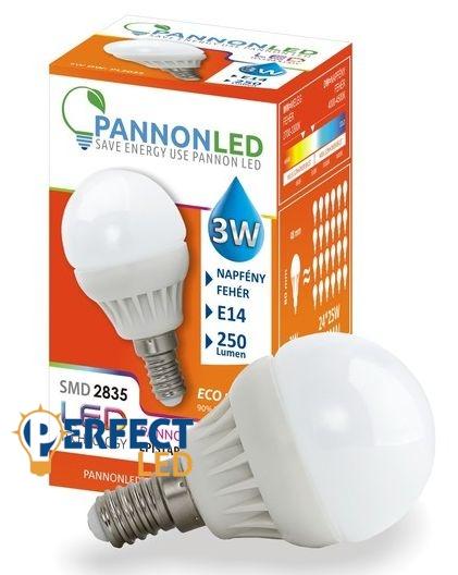 3W E14 LED kisgömb égő, izzó természetes fehér