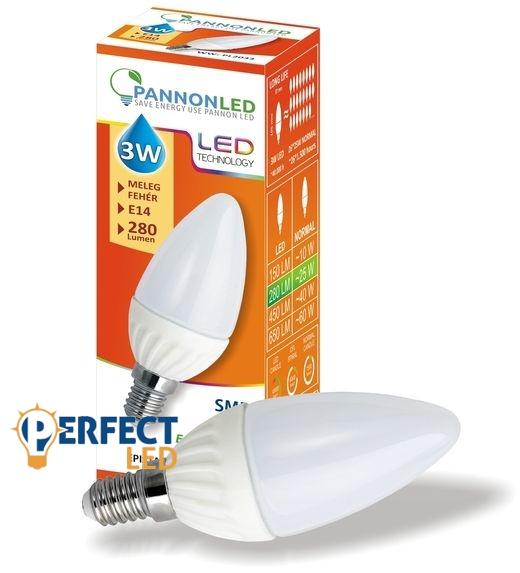 3W E14 LED gyertya izzó, égő meleg fehér