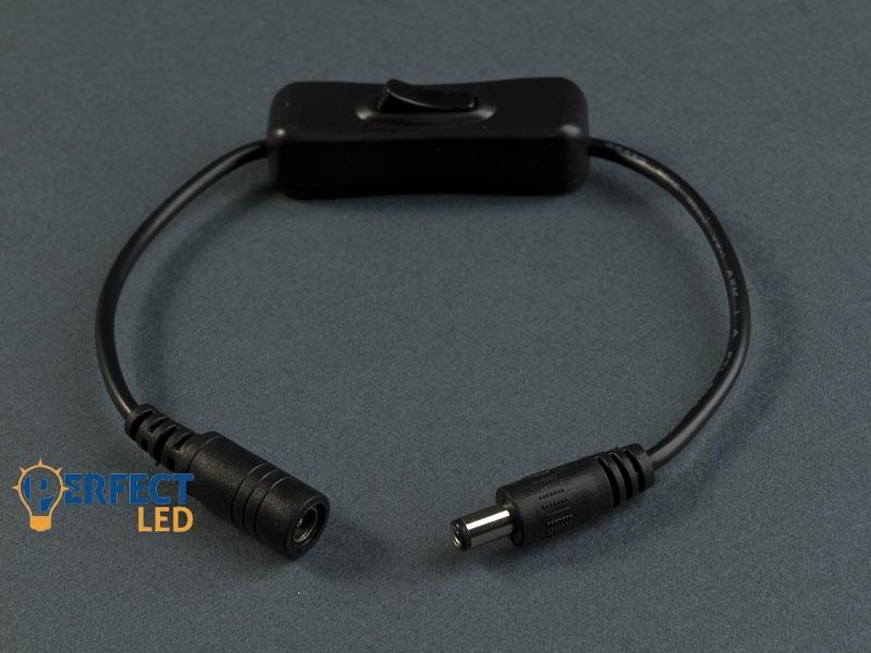 DC csatlakozó kábel, zsinórkapcsolóval szerelve
