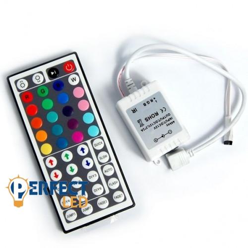 RGB LED szalag vezérlõ 44 gombos infrás távirányítóval 72W