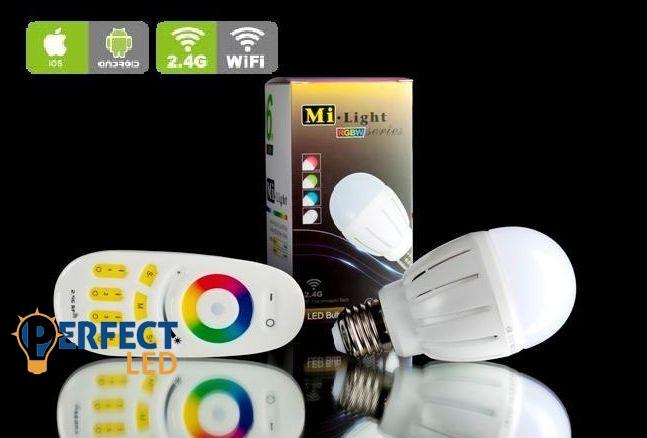 E27 6W RGBW színes wifis LED gömbizzó, távirányítóval