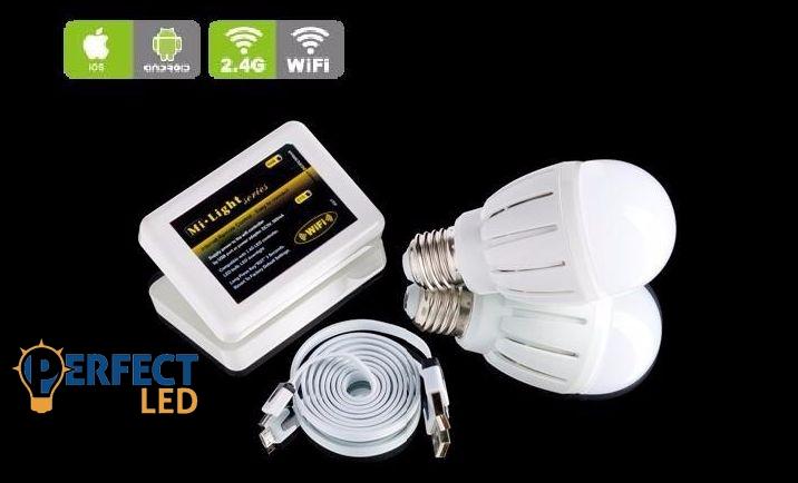 E27 6W RGBW LED gömbizzó, okostelefonnal használható WiFi vezérlővel.