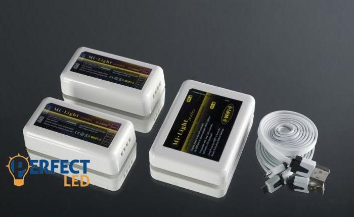 Wifi RGB jeladó + 2 db dimmer vezérlő 5V USB  (android, IOS)