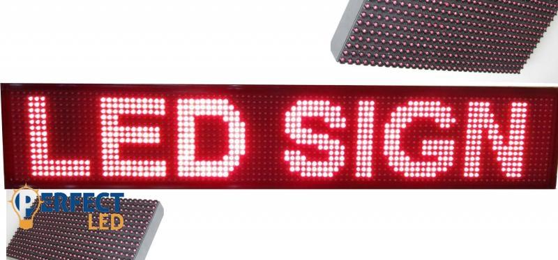 100x20CM LED fényújság, fényreklám programozható LED tábla beltéri piros