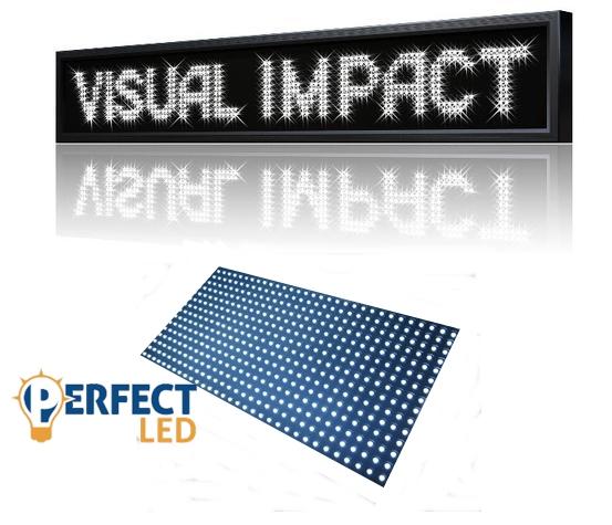 100x20CM LED fényújság, fényreklám programozható LED tábla beltéri fehér
