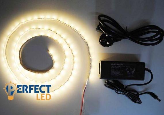 1m meleg fehér ETRA ERŐS 5050 60led/m beltéri LED szalag szett fényerőszabályzóval