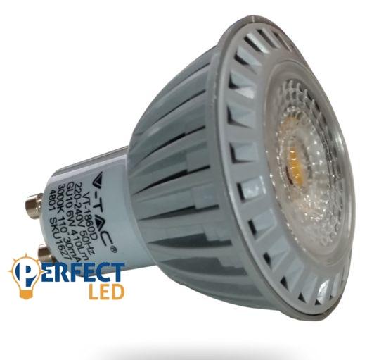 6W GU10 Fényerőszabályozható LED spot izzó hideg fehér