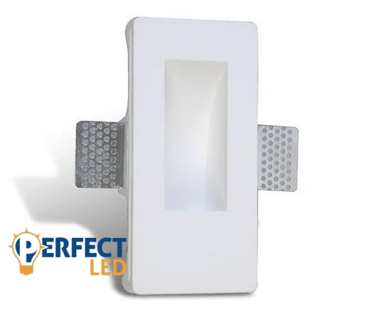 Fali gipsz süllyesztett festhető lábazati lámpatest - 80×165 mm GU4/MR11 LED fényforrásokhoz