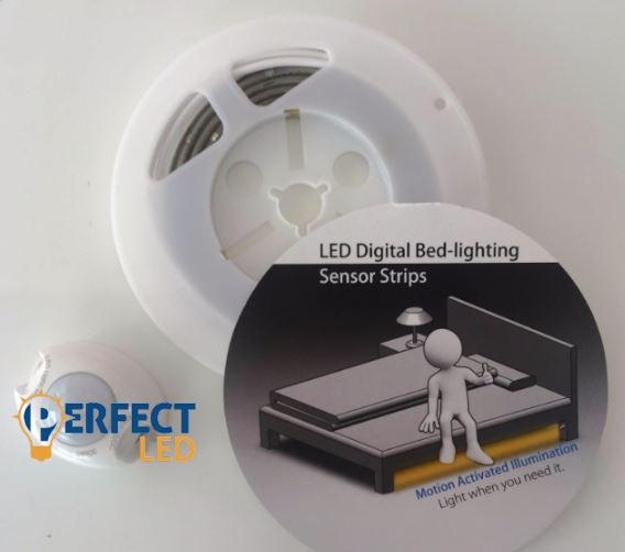 LED mozgásérzékelős LED szalag szett ágy alá meleg fehér