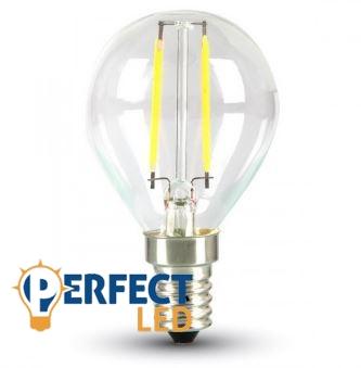 2W E27 LED filament kisgömb égő meleg fehér