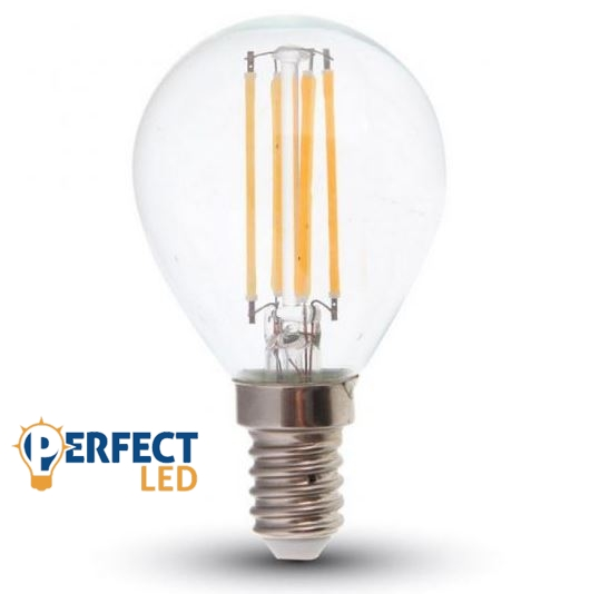 4W E14 LED filament kisgömb égő meleg fehér
