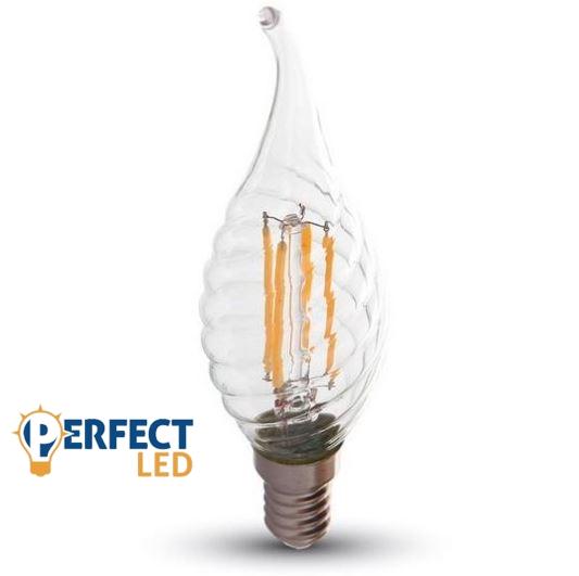 4W E14 LED filament szélfújta gyertya égő hideg fehér