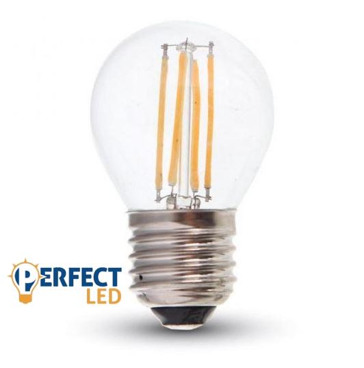 4W E27 LED filament kisgömb égő hideg fehér