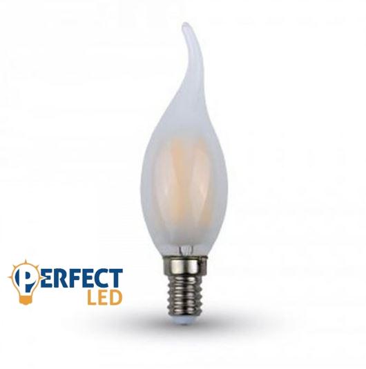4W E14 LED filament szélfújta gyertya égő meleg fehér