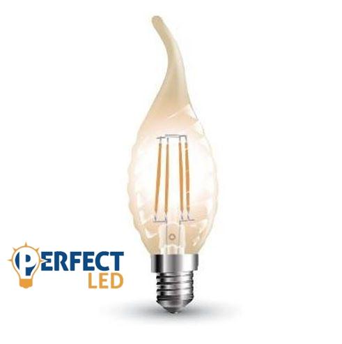 4W E14 LED filament szélfújta gyertya égő meleg fehér borostyán
