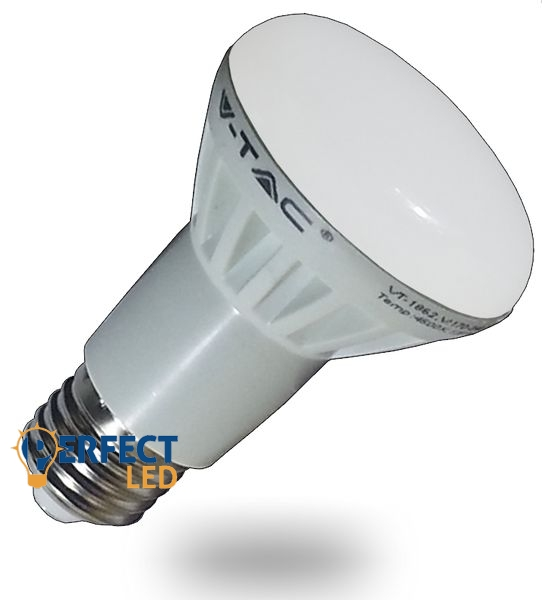 8W E27 R63 fejű LED izzó, égő meleg fehér