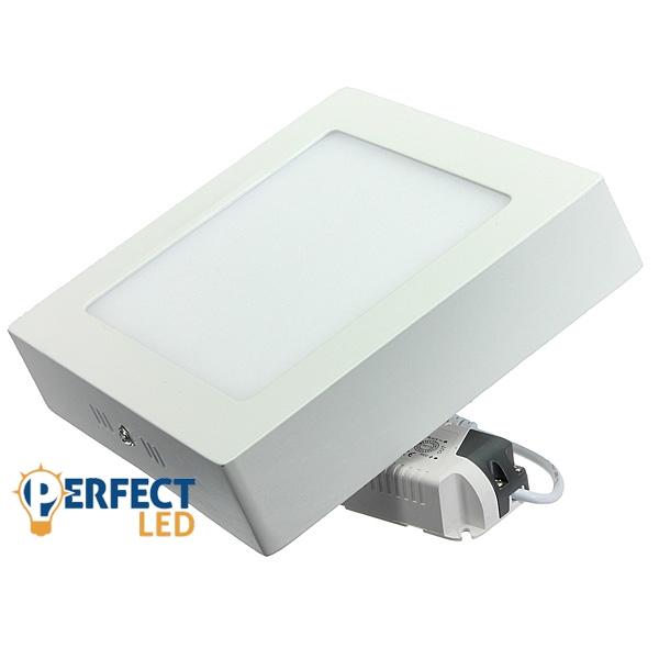 15W LED mennyezeti lámpa, falon kívüli négyzet hideg fehér