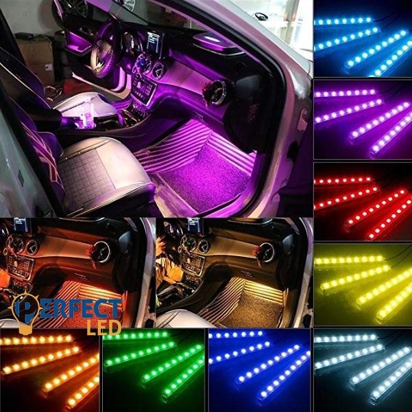 Szivargyújtós RGB Hangulat Világítás Autóba