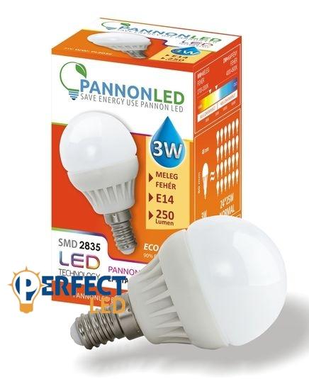 3W E14 LED kisgömb égő, izzó meleg fehér