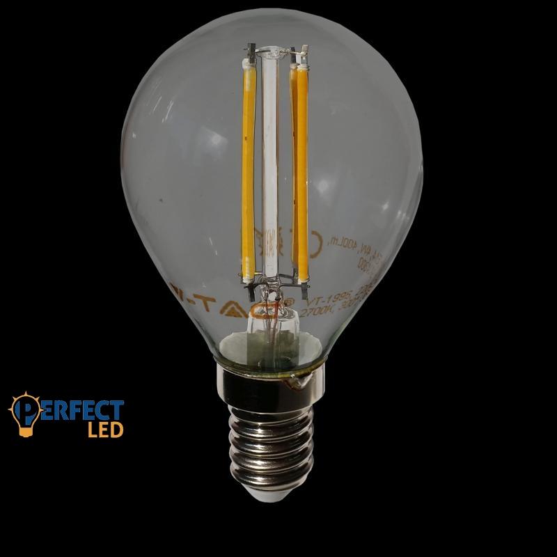 4W E14 COG szálas LED kisgömb égő meleg fehér