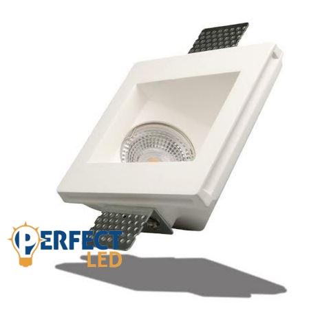 Mennyezetbe süllyeszthető asszimetrikus 120x120mm négyzet festhető GIPSZ LED lámpatest MR16 és GU10 LED spothoz