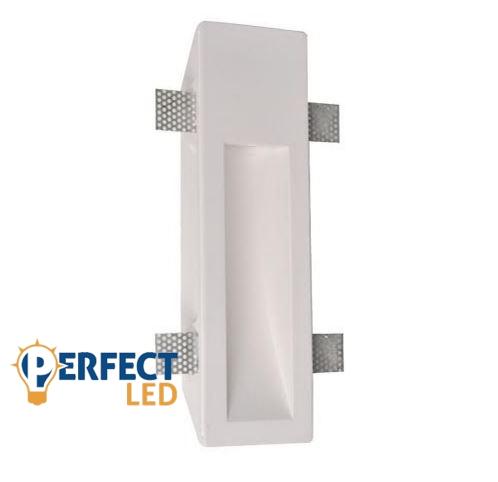 Fali gipsz süllyesztett festhető lábazati lámpatest - 100×350 mm – GU10 LED fényforrásokhoz